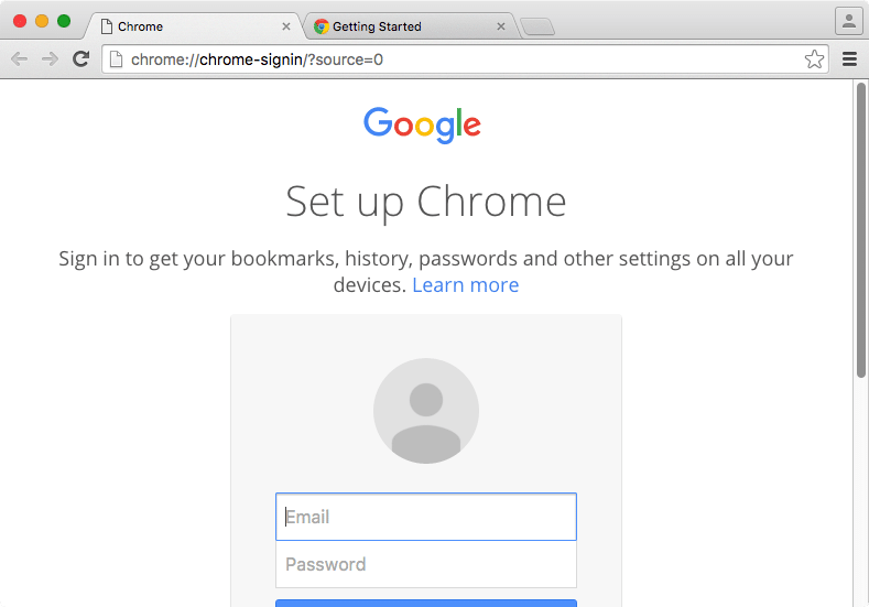 How to stop first run messages in Google Chrome