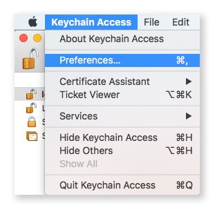 access keychain preferences
