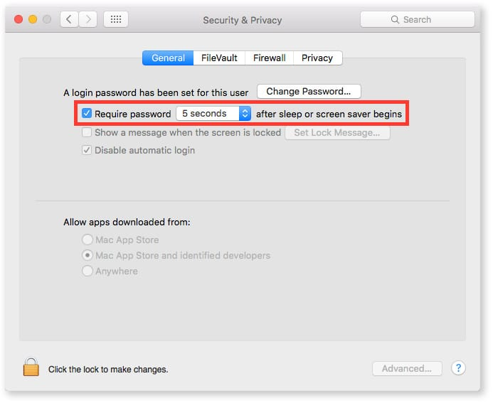 os x security and privacy settings